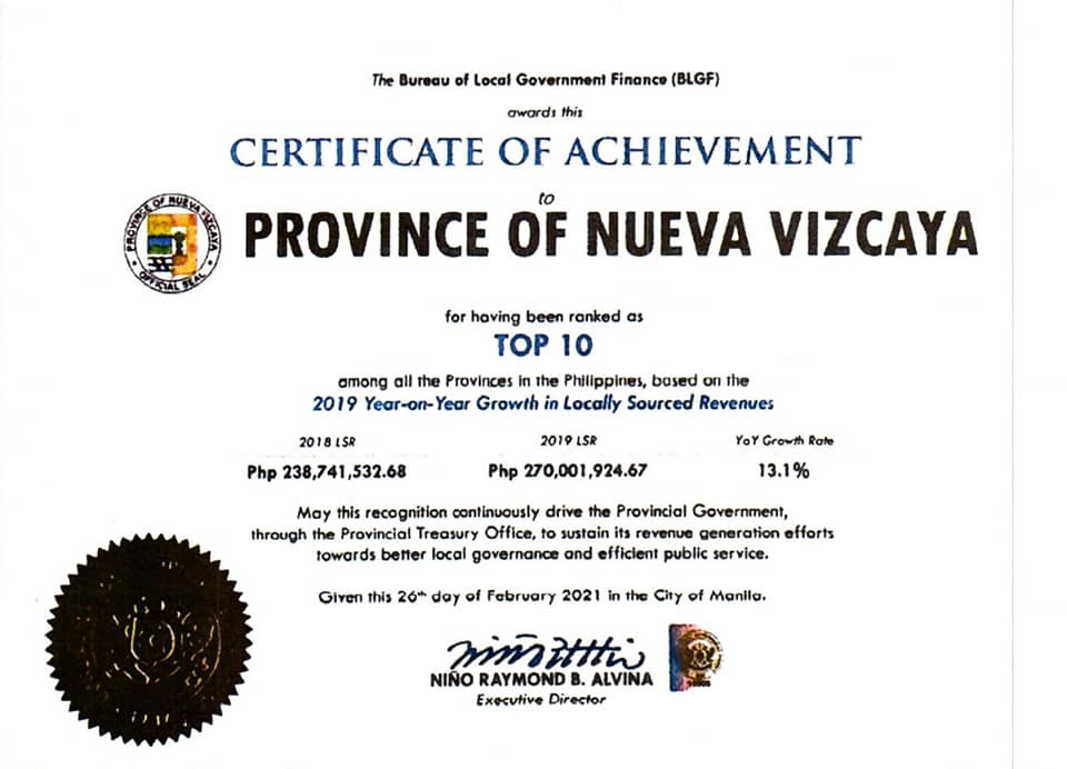 Province of Nueva Vizcaya attained a National Rank of Top Ten